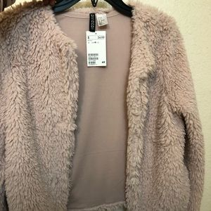 H&M Light Pink Fluffy Jacket // *NEW* with tags